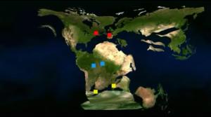 চিত্রঃ Pangea র সময় মহাদেশগুলোর একীভূত অবস্থা